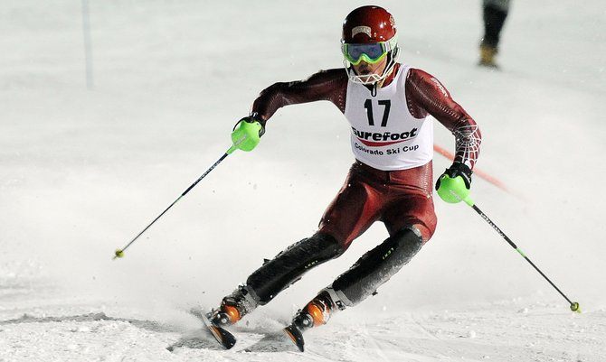 Former Steamboat Springs skier Max Marno dances between the slalom gates Friday at Howelsen Hill. Marno finished eighth. Racing resumes at Howelsen Hill on Saturday.