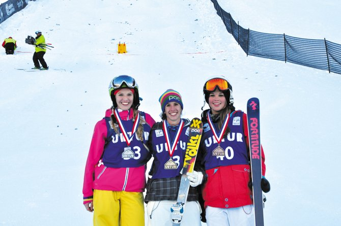 Steamboat Springs Winter Sports Club member Sophia Schwartz, center, won the U.S. Freestyle Selections dual moguls event Saturday at Copper Mountain.