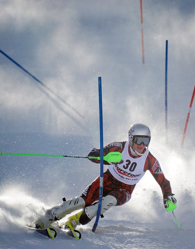 University of New Mexico skier Sean Horner cuts down the face of Howelsen Hill on Saturday in Steamboat Springs. The men&#39;s slalom race wrapped up three days of racing in the annual Surefoot Holiday Classic. The weekend attracted nearly 200 men and women to Ski Town USA for three days of slalom racing at Howelsen and at Steamboat Ski Area.