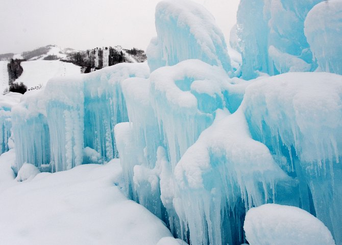 The ice castle in Ski Time Square is near completion, and builders said they hope to have it open for the public by New Year's Eve. They also said that such a creation never is finished and that they would be altering the design throughout winter.