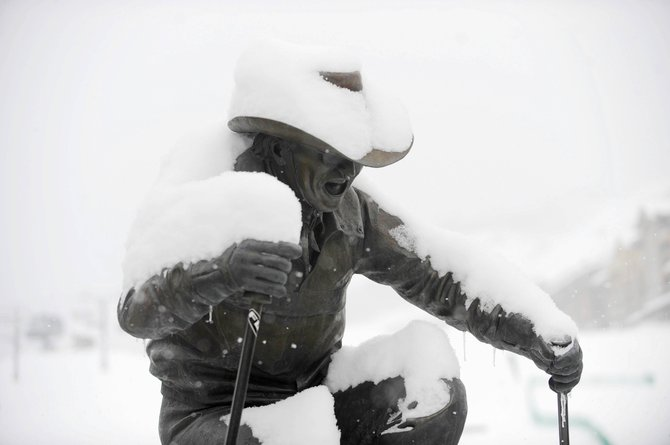 The Billy Kidd statue got fresh layers of snow throughout the week at Steamboat Ski Area.