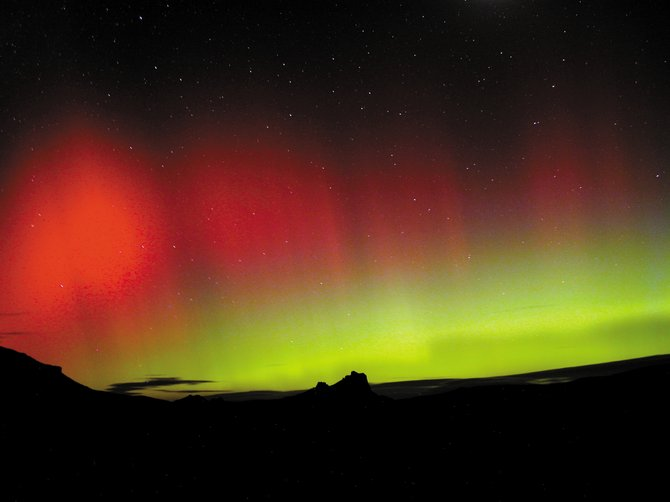 Auroral storm over Yampa Buttes on Oct. 29, 2003: When the sun nears the peak of its 11-year activity cycle, a large flare or coronal mass ejection can trigger a spectacular display of the northern lights visible from as far south as Colorado, as it did Oct. 29, 2003. With the next solar maximum predicted for late 2013, increasing solar activity this year will improve our chances for seeing some vivid auroras.