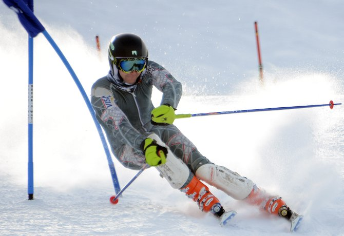 Carter Allen cuts around a giant slalom gate Sunday during a Town Challenge event at Steamboat Ski Area. The race in Bashor Bowl drew about three dozens racers of all experience levels to a course that included giant slalom and slalom gates. It came as little surprise that David Lamb, one of Steamboat's most avid and accomplished skiers, raced the fastest time. He ran the course in 32.72 seconds. Kevin Hendrickson was second in 33.8 seconds, and Allen was third in 34.45.
