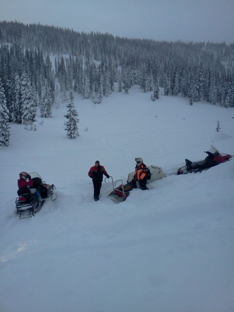 Routt County Search and Rescue volunteers carved out a path to pull a party of five stranded snowmobilers out of deep snow on Buffalo Pass. The stranded snowmobilers were uninjured.