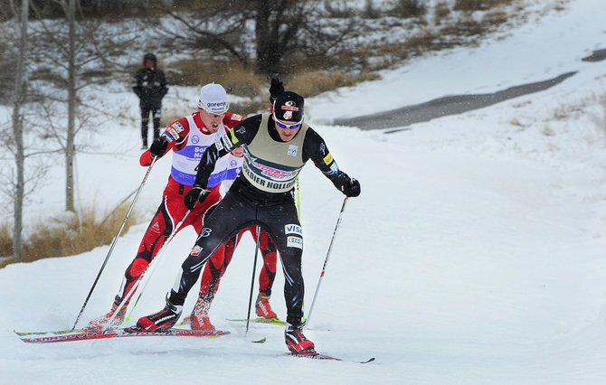 Steamboat Springs' Todd Lodwick leads the field at a Continental Cup event in December. On Saturday, a team comprising Lodwick, Bryan Fletcher, Taylor Fletcher and Billy Demong skied the United States' first podium in a Nordic combined World Cup team event.