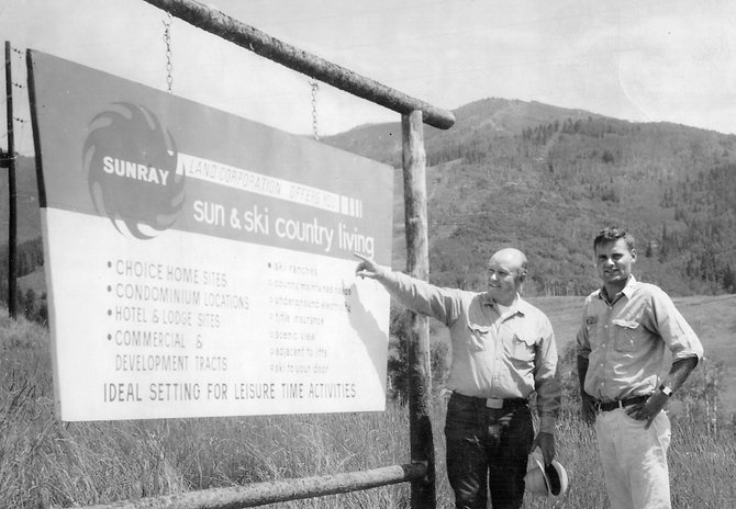 Jim Temple, left, and Don Valentine in August 1965 at the base of Steamboat Ski Area. Temple founded the ski area.