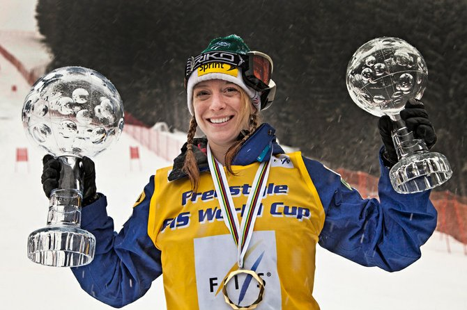 Hannah Kearney displays her crystal globes as FIS Freestyle World Cup moguls and overall champion last season. After a crash in October, Kearney was in Steamboat this week skiing top-to-bottom runs for the first time since the injury.