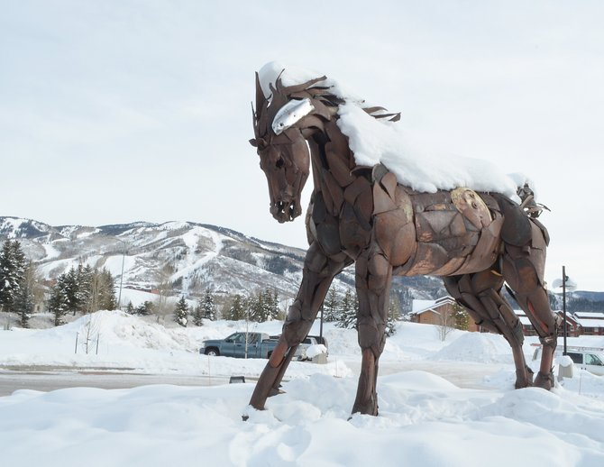 Wildhorse Marketplace owner Whitney Ward is researching options for expanding the commercial center into a parcel beyond the horse statue in the traffic roundabout. Ward already holds a final development permit from the city of Steamboat Springs but could choose to return to the city approval process in order to reconfigure the buildings.
