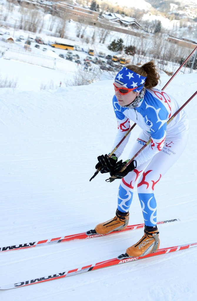 Meg O&#39;Connell flies down the slope Saturday during a high school cross-country ski event in Steamboat Springs. She finished sixth, leading her team.