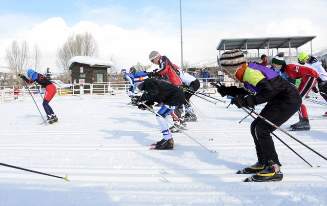 The field for the boys middle school cross-country ski race in Steamboat Springs takes off from the starting line Saturday.