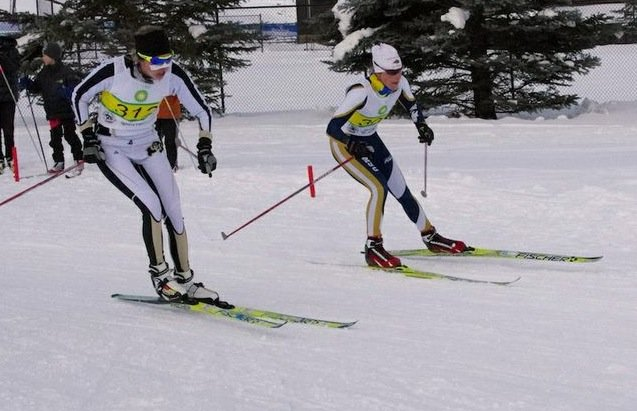 Steamboat Springs Winter Sports Club alumna Mary Rose, left, took seventh in Saturday's 15-kilometer freestyle race at a collegiate cross-country ski competition at Howelsen Hill in Steamboat Springs.