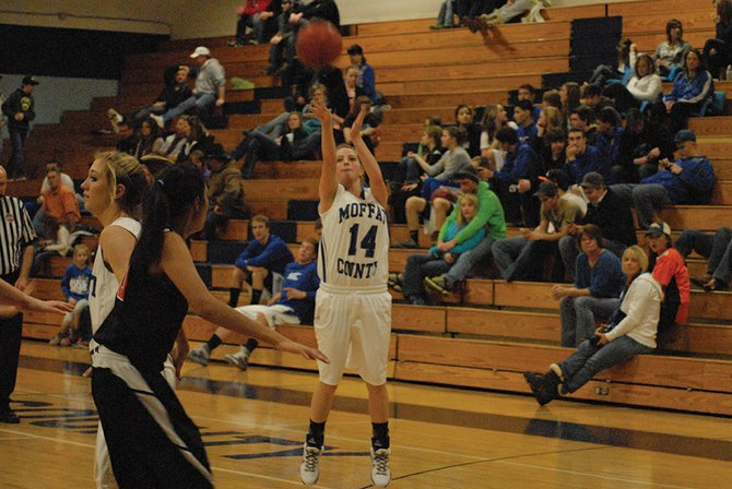 Lisa Camilletti puts up a jumper during Saturday's home game vs. Aspen. Camilletti led Moffat County in scoring with 13 points, and the Bulldogs won 62-19.