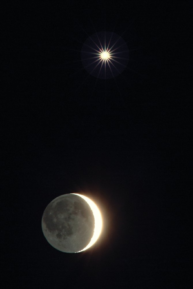 Whenever the moon and one of the bright planets have a close encounter in our sky, an event called a conjunction, it's always an eye-catching spectacle. On Jan. 21, Jupiter and the moon will pair up for a very close conjunction, even closer than the one between the moon and Venus, shown here, during their Feb. 27, 2009, conjunction.