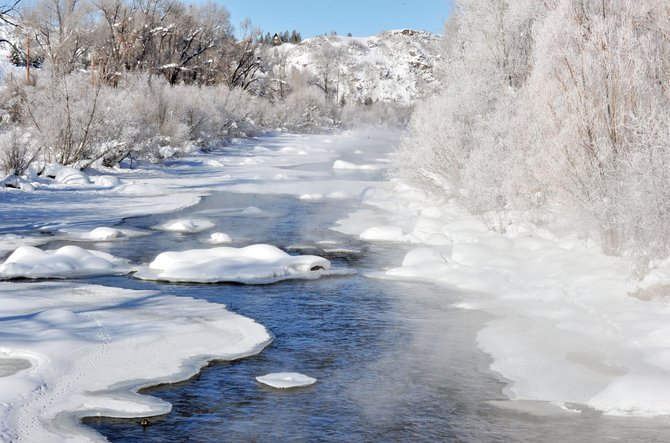 It was a chilly scene along the Yampa River in Steamboat Springs on Monday. A task force may be formed to help answer the question of how to fund new capital projects to upgrade its stormwater system and help manage future flooding and problems associated with annual spring runoff.