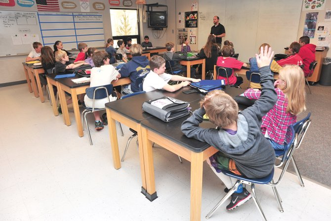 Students answer questions in Matt Anderson's sixth-grade science class Tuesday afternoon at Steamboat Springs Middle School. The school was ranked seventh out of 491 middle schools in Colorado and received an A+ rating from www.coloradoschoolgrades.com.
