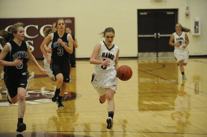 Soroco High School guard Hayley Johnson drives to the basket Tuesday. The Soroco girls, after seven straight wins, face their toughest weekend of the year starting Friday at home against Paonia.