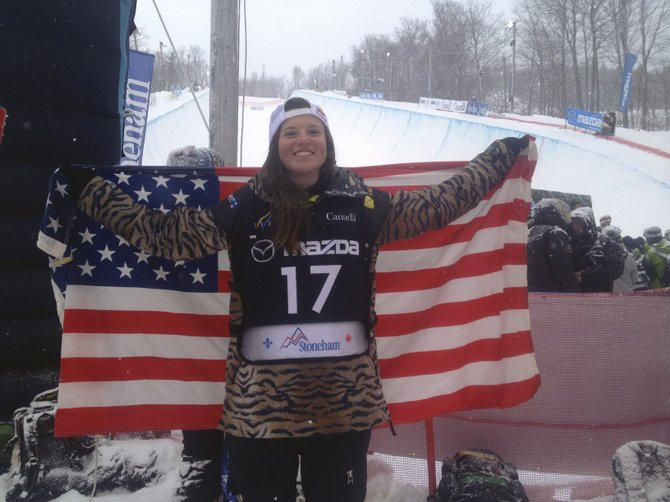 Steamboat Springs snowboarder Arielle Gold celebrates after she won the FIS Snowboard World Championship half-pipe competition in Stoneham, Quebec.