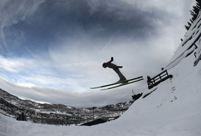 Ski jumper Finn O'Connell takes flight off the HS75 at Howelsen Hill.