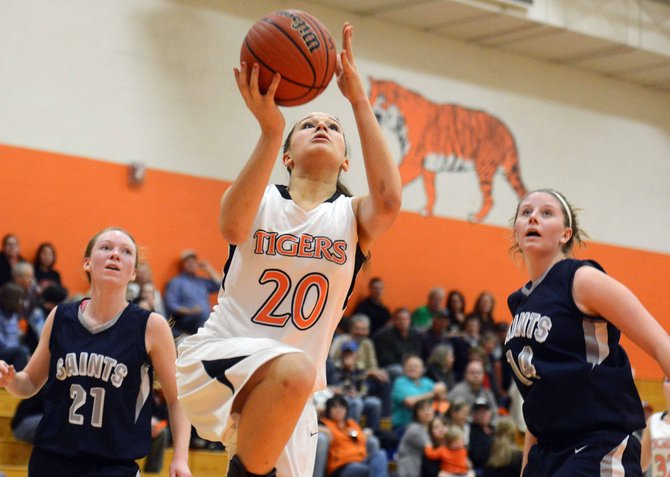 Hayden freshman Emma Johnson rises up for a layup Friday as the Tigers beat Vail Christian, picking up their second win of the season.