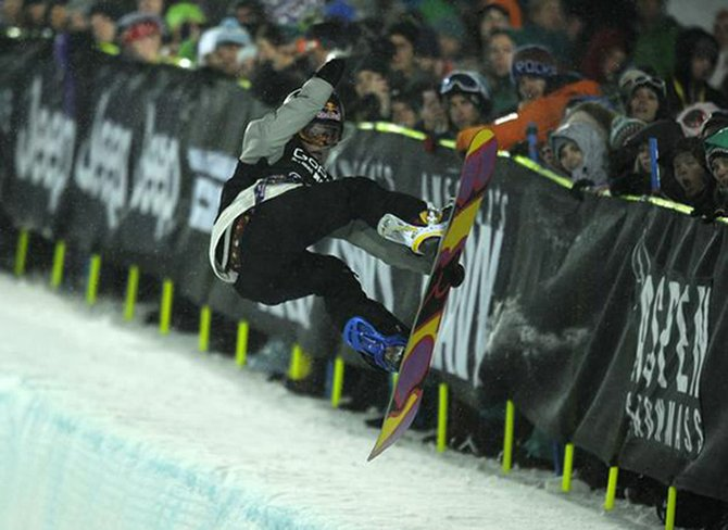 Arielle Gold during her first run in the snowboard super-pipe women's final Saturday night in Aspen.
