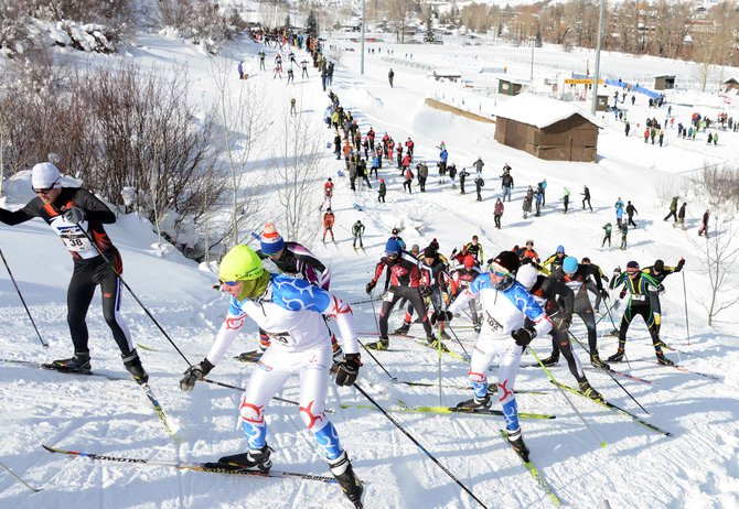 Dane Dixson, front, and Tait Dixson compete at Howelsen Hill during a high school cross-country ski race in Steamboat Springs earlier in January. An event scheduled for Saturday in Leadville was moved to the Steamboat Ski Touring Center because of a lack of snow.
