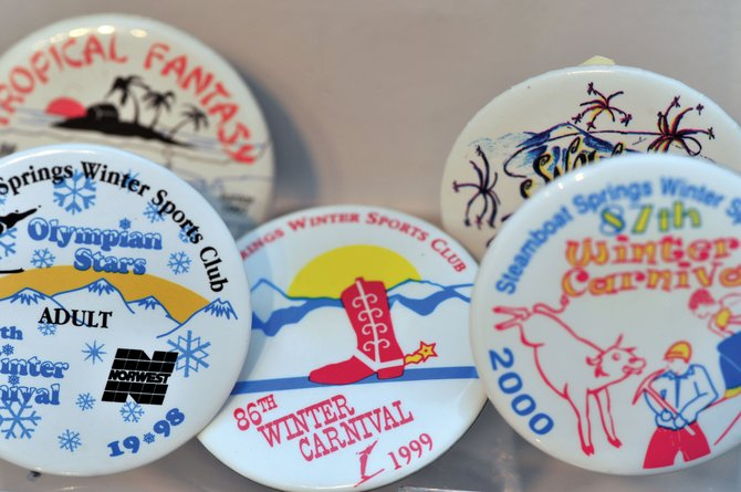 Buttons from past Winter Carnivals are on display at Tread of Pioneers Museum in downtown Steamboat Springs.