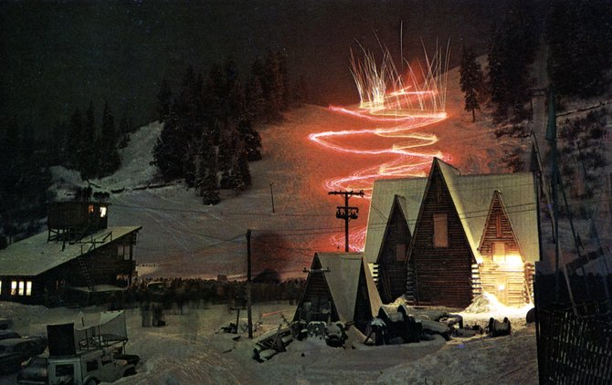 The 1960 Winter Carnival concluded with a night show with hundreds of skiers coming down the slope in the dark in various patterns with different kinds of flares and fireworks. This year's Night Extravaganza is at 7 p.m. Saturday with a fireworks show, the Lighted Man and torchlight parades.