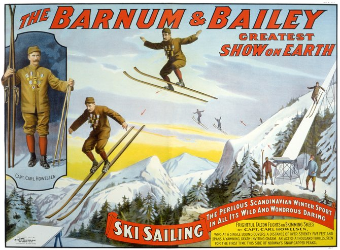 Tread of Pioneers Museum's newest artifact is an original Barnum & Bailey circus poster featuring Carl Howelsen's ski jumping act that toured the country beginning in 1907.