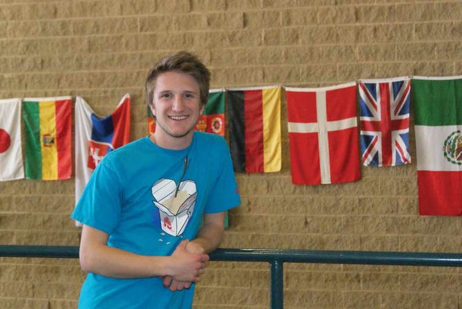 Moffat County High School junior Derek Maiolo stands on the second floor of the high school. Involved in numerous organizations and activities, Maiolo stays busy because of his passion for helping others accept one another.