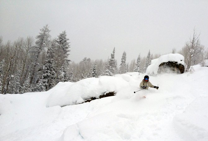 ExploreSteamboat.com Editor Nicole Inglis skis Thursday near Pony Express at Steamboat Ski Area. The avalanche danger in the Steamboat backcountry was rated as high Thursday and an avalanche warning is in effect through 8 a.m. Friday.