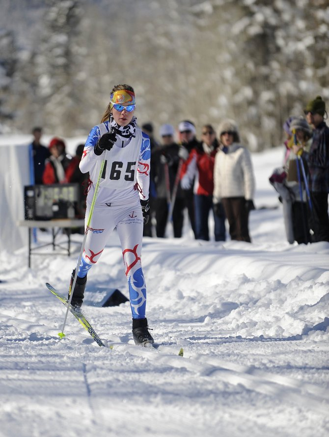Gabriel Bohlmann comes off the starting line Saturday at the Steamboat Ski Touring Center.
