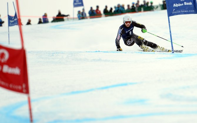 Zak Kjos cuts down a giant slalom run Sunday during an Alpine ski race in Steamboat Springs. Kjos won the race, leading the way for a podium-filled weekend of racing at Steamboat Ski Area.
