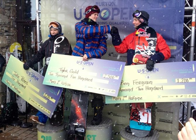 Steamboat's Taylor Gold, center, won first place in a U.S. Open half-pipe qualifier last weekend.