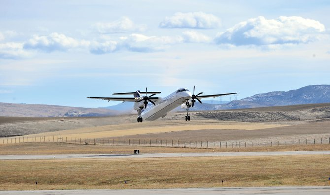 A United Express Q400 turboprop operated by Republic Airlines takes off from Yampa Valley Regional Airport in October, when airport Manager Dave Ruppel first expressed concerns about the growing problem with the Q400's on-time record. On Wednesday, a high-ranking United Express operations executive met with Steamboat resort officials and community leaders to talk about her company's progress in improving the reliability of the four daily flights between Denver and Yampa Valley Regional Airport.