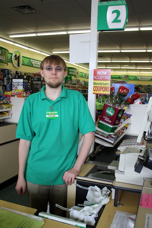 Taylor DeMent, 20, a cashier at the Dollar Tree, is working while he saves money to go to school. He hopes to get his pilot's license and is a big fan of My Little Pony: Friendship is Magic.