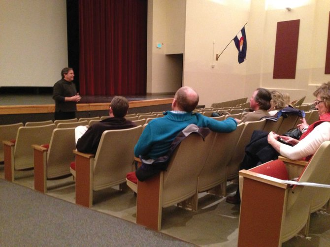 "Brian Kruger, left, director of the documentary ""Black and Blue,"" showed his film to Craig residents Tuesday night in the Moffat County High School auditorium at the invitation of CNCC."