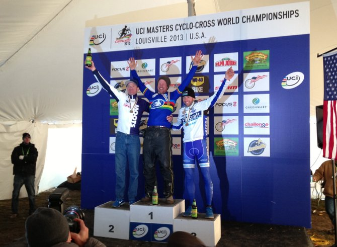 Jon Cariveau, left, placed second in the men's 45 to 49 masters division at the Cyclocross World Championships in Kentucky.