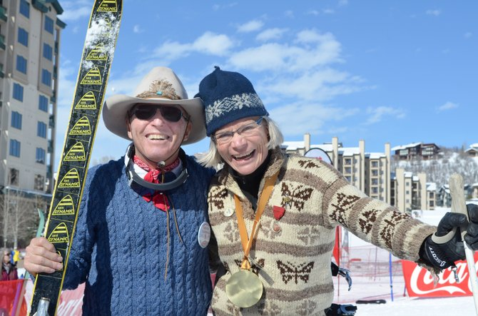Billy Kidd and Tammie Bowes Delaney congratulate each other after Friday's Winter Carnival vintage ski race on Stampede trail at Steamboat Ski Area. Kidd's Dynamic skis are the same pair he raced on at the 1970 World Championships in Val Gardena, Italy, to win a bronze medal in slalom and a gold in the combined event.