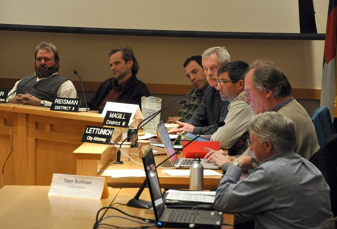 The Steamboat Springs City Council and the Routt County Board of Commissioners on Tuesday night discussed the county's opposition to the city's tentative plans to form a downtown Urban Renewal Authority to fund downtown improvements.