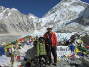 Scott Patterson and his son Kessler, 10, stand at Mount Everest base camp during a December trip to Nepal. 