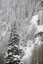 Torre Saterstrom snowboards Thursday in Fish Creek Canyon.