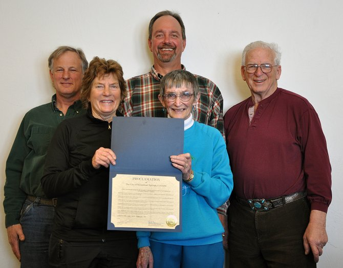 Steamboat Kiwanis Club members, from left, Theo Dexter, Carol Baily, Bob Kauffmann, Johanna Russell and Bud Romberg are pictured with the proclamation from the city of Steamboat Springs marking the club's 65th anniversary.