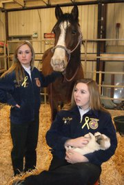 Moffat County High School junior and FFA member Ripley Bellio stands next to the horse while senior Taylor Duzik sits holding a puppy during barnyard day. MCHS students in FFA hosted barnyard day for district kindergartners, introducing them to the agriculture industry in honor of national FFA week. 