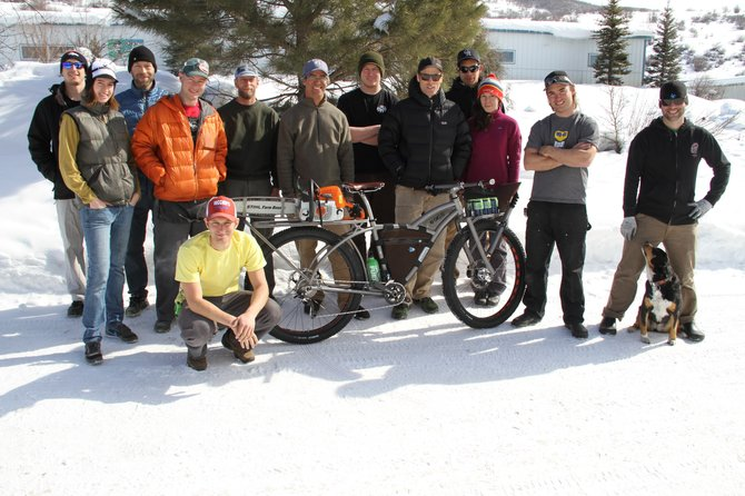 The Moots team shows off its trail maintenance bike. The bike won two awards this weekend at the North American Handmade Bicycle Show in Denver