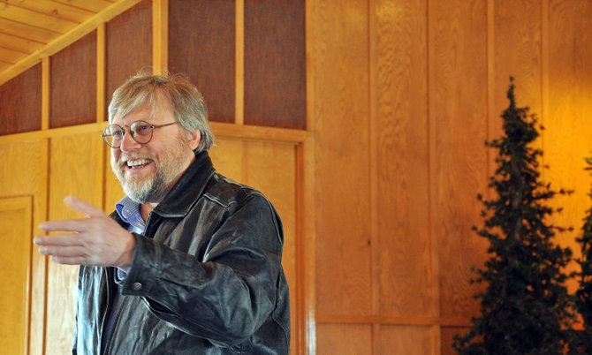 Doug Zirkle preaches in March at the Mission of Grace Baptist Church in Hayden.