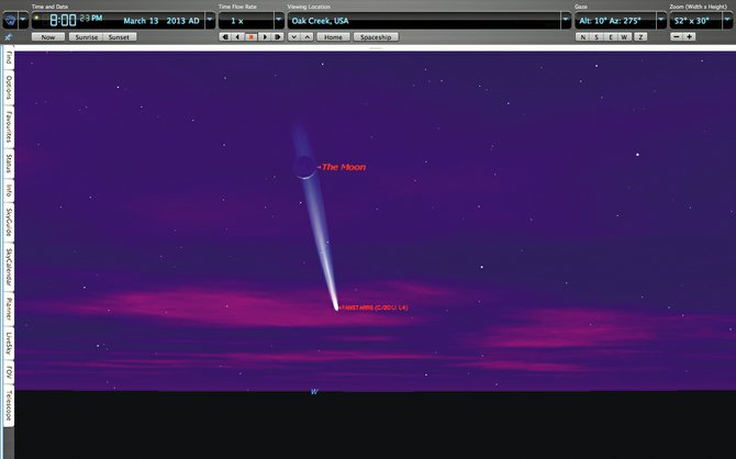 Starry Night planetarium software predicts Comet PanSTARRS and the crescent moon could look like this low in the western sky at 8 p.m. March 13. We'll just have to wait and see whether that actually happens.