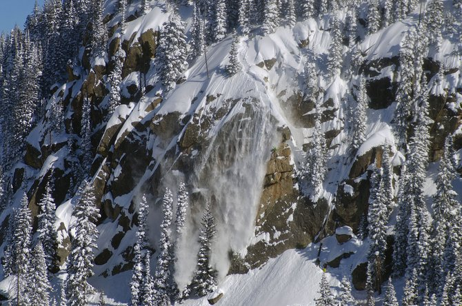 Steamboat Springs snowboarder Chris Rhodes drops Hell's Wall on Wednesday.