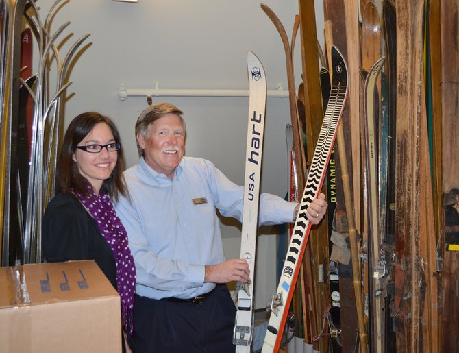 Tread of Pioneers Museum curator Katie Adams and board member Jim Peterson provide a preview of the vintage ski collection in the museum's new climate-controlled collections building at 800 Oak St. The museum will welcome the public to an open house debuting expanded exhibit space and the collection building from noon to 3 p.m. Saturday. The event is free.