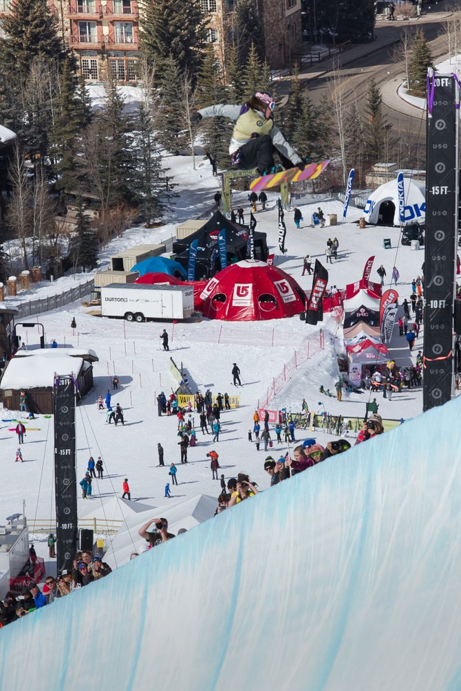 Steamboat Springs snowboarder Arielle Gold pops out of the half-pipe Saturday at the Burton U.S. Open in Vail. Gold finished third, marking her fifth trip to the podium in big events this season.