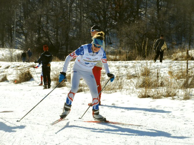 Natalie Bohlmann skis at the Junior Nationals, where she picked up an individual Nordic combined championship in the J2 women's division as well as a fourth-place finish in a special jumping competition.